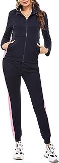 Akalnny Femme Survêtement Ensembles 2 Pièces Sportswear Manches Longues Suit Fermeture éclairl avec Poches Zipper Casual V...