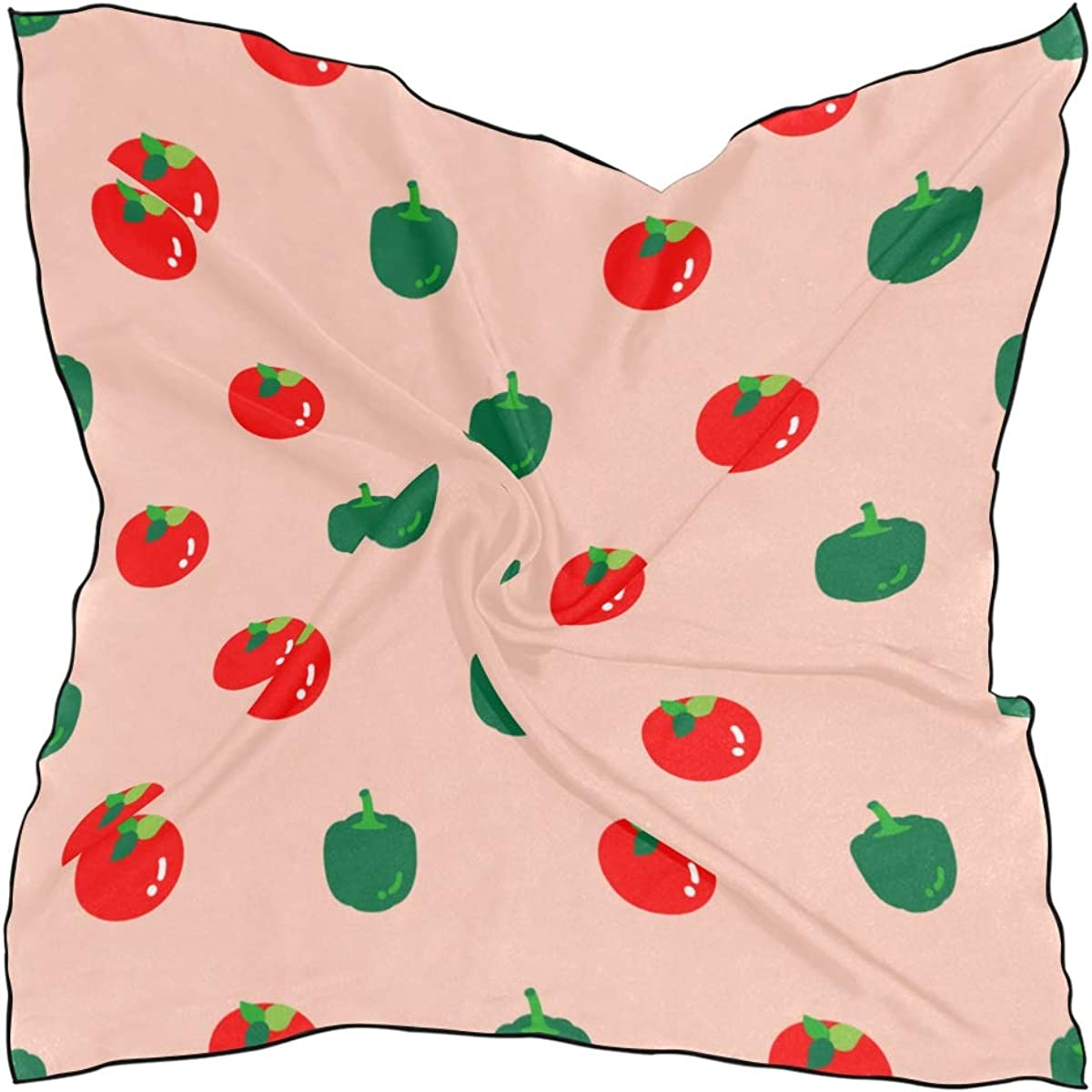 Women's Soft Polyester Silk Square Scarf Fashion Creative Vegetables Tomatoes Fashion Print Head Hair Scarf Neckerchief Scarves Accessory 23.6x23.6 Inch Multiple Ways Of Wearing Daily Decor