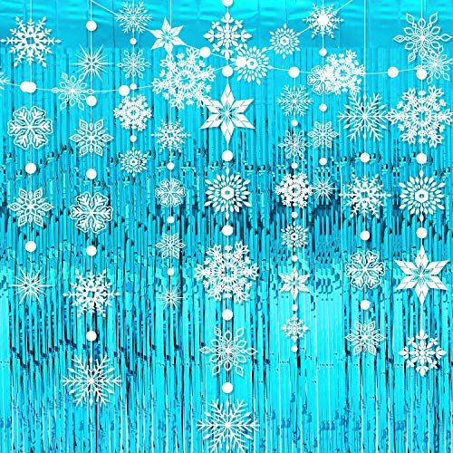 4 Pieces Snowflake Garlands Blue Metallic Tinsel Curtains Winter Hanging Snowflakes Foil Fringe Curtain Photo Booth Props for Christmas New Year Wedding Baby Shower Home Decor