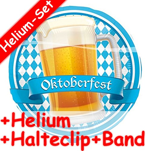 Carpeta folieballonset * Oktoberfest + helium vulling + houder clip + band * voor kinderverjaardag of themafeest // folies ballon helium decoratie ballongas motto Wiesn Beieren oktober feest maat bier