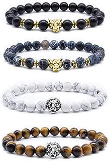 Byson Volcanic Stone Stretch Bracelet Lava Rock Bead Bracelet for Men Leopard Lion Bracelet Set 8MM Beads Tiger Eye Howlite Bead Couple Bracelets Set Healing Energy Lucky Bracelets with Owl Charms