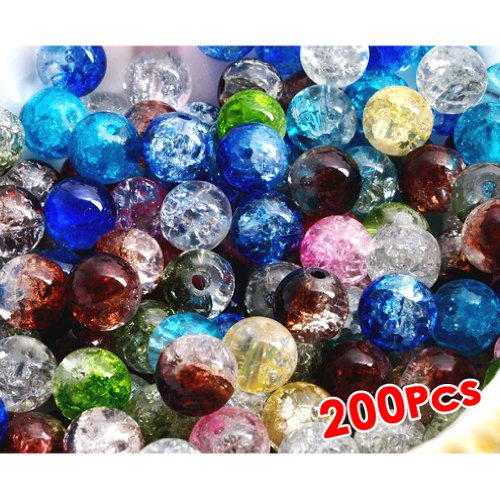 HOUSWEETY 200 Pcs Perle en Cristal Crystal Verre Rond 6mm Multicolor