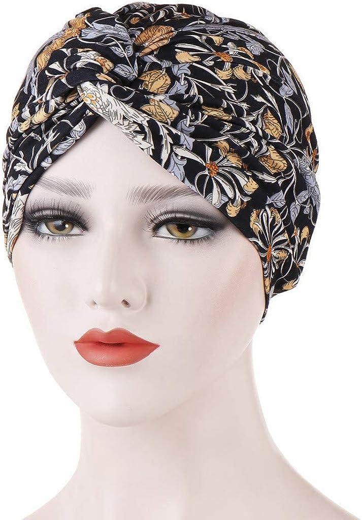 GreatestPAK Damen Einfarbig Zopf Kopf Mütze Kopftuch Hijab Druck Rüsche Turban Schwarz_19