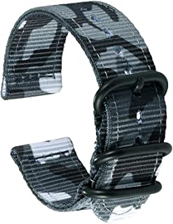 2 Piece Military NATO Style Nylon Watch Band Strap - 12 Colors, Camo Pattern (Sizes: 18mm, 20mm, 22mm, 24mm)