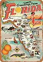 1954フロリダからのご挨拶、ブリキの看板、ヴィンテージの鉄の絵の金属板ノベルティ装飾クラブカフェバー