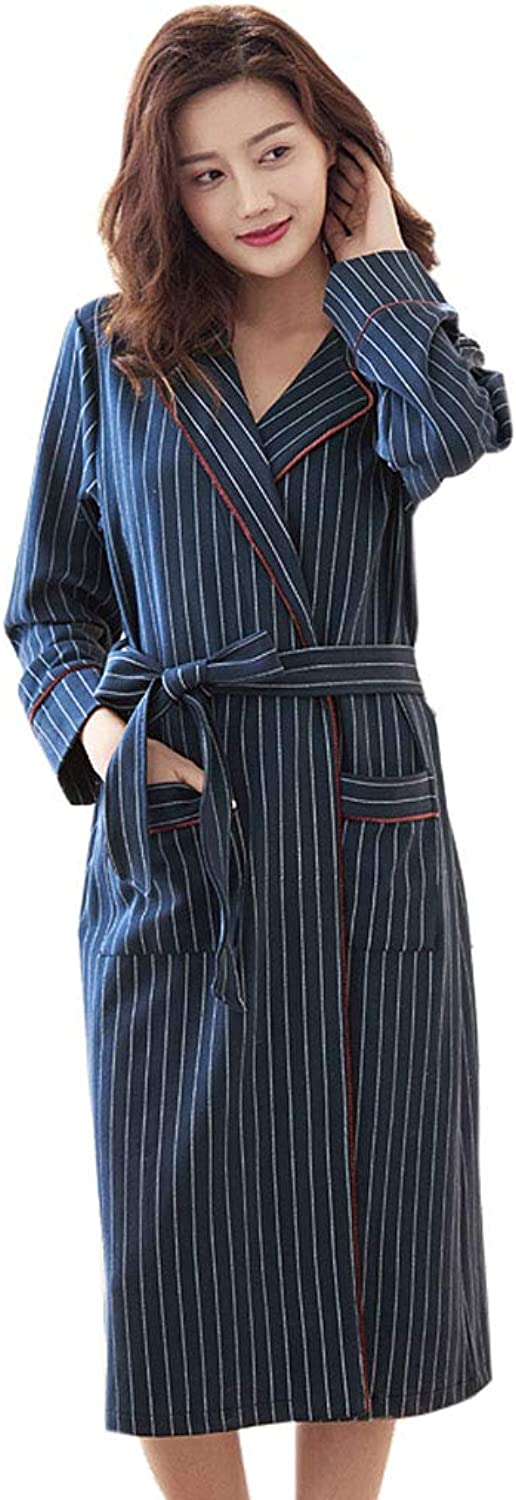 Mesurn Long Striped Couple Nightgown, Cotton Fabric, Soft Texture, Delicate Touch, Long Sleeve Ladies Home Bathrobe