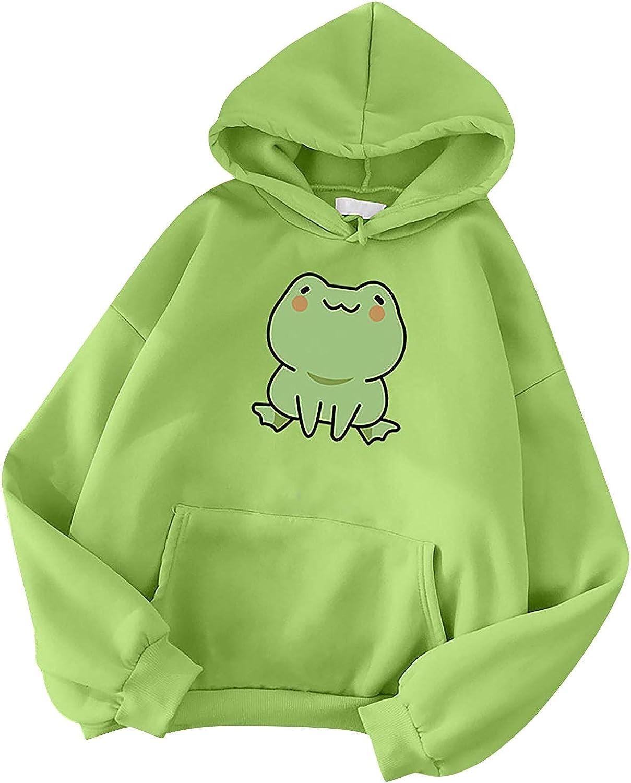 MASZONE Hoodies for Teen Girls Aesthetic Anime, Women's Skateboarding Frog Long Sleeve Hoodie Pullover Cute Sweatshirts