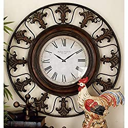Rustic 38 Inch Round Brown Fleur-de-lis Wall Clock Iron Natural Finish Roman Numeral Display