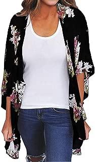 Womens Floral Chiffon Kimono Cardigans Loose Beach Cover Up Half Sleeve Tops