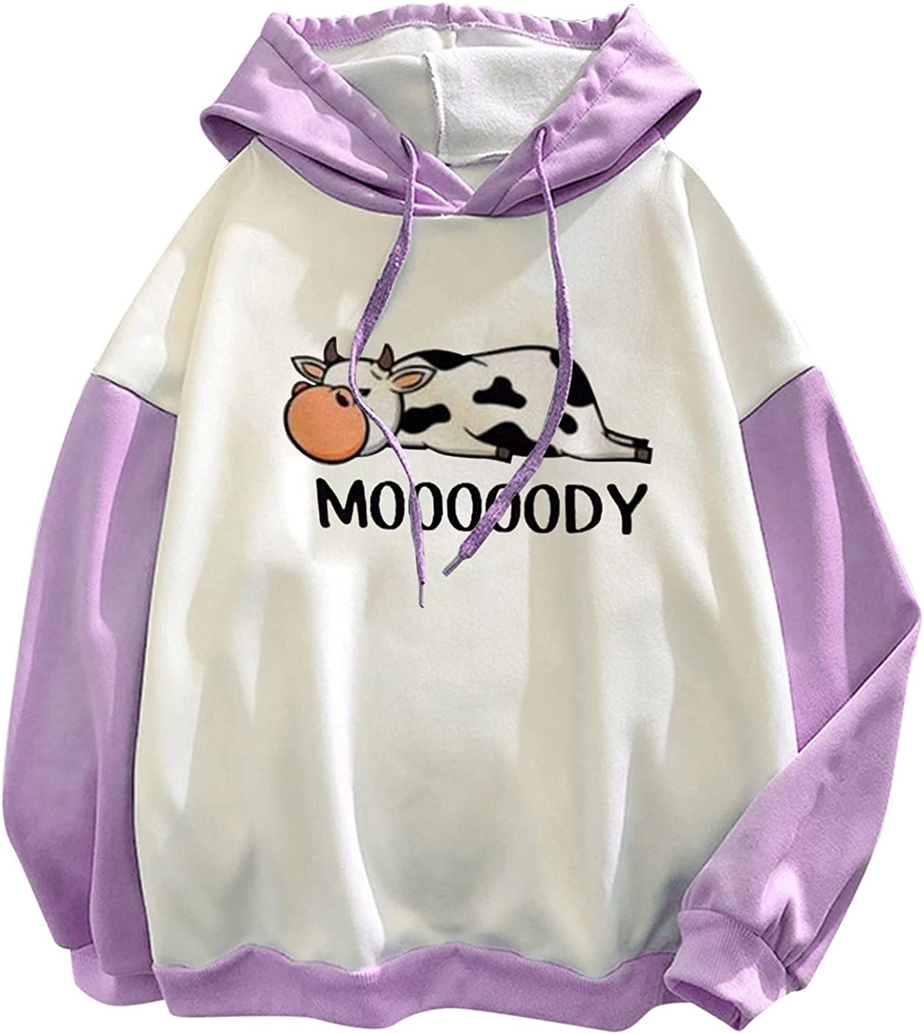 OFFicial mail order XXBR Hoodies for Womens Teen Girls Color P Block Print Cute Cow Award