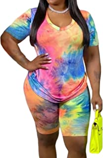 MAYFASEY Women's Plus Size 2 Pieces Sports Outfit Short Sleeve Bodycon Pants Set Tie Dye Casual Tracksuit Multicolor 4X