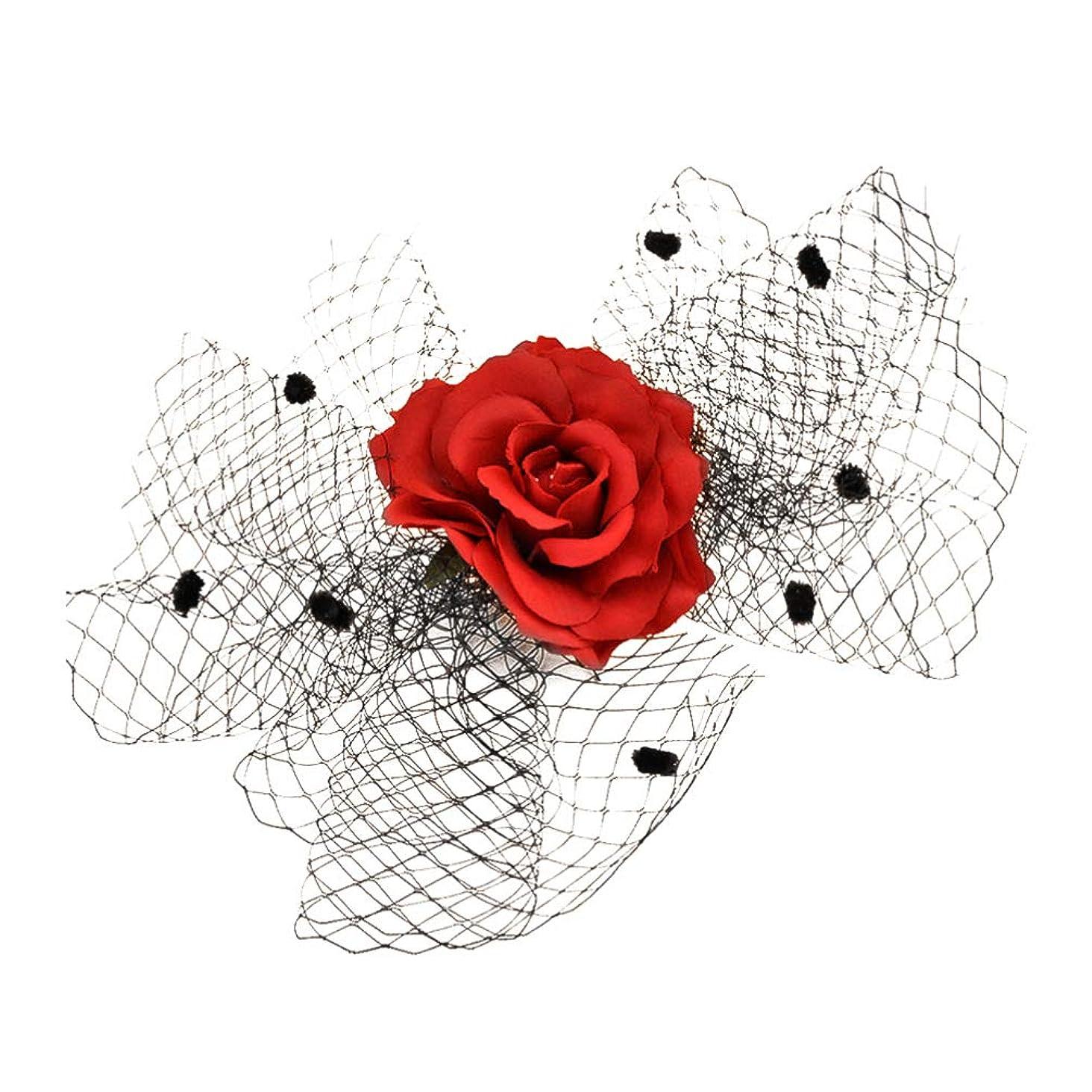 可能にする好意的失礼NUOBESTY ローズガーゼヘッドドレス美しいメッシュネットシャイニングヘアクリップヘアピン帽子パーティーパフォーマンスコスプレ用(赤)