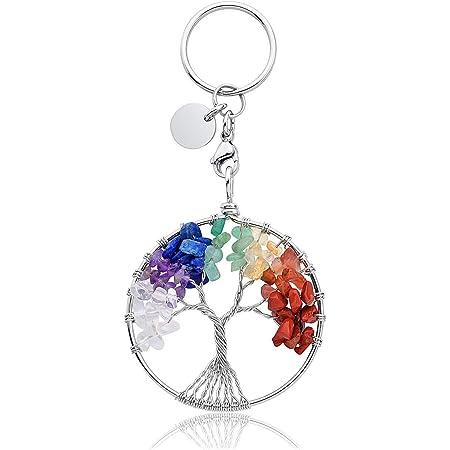 JOVIVI Amethyst Crystal Keyring Sliver Moon Star Stone Healing Gemstone Keychain Car Key Ring Key Chain Hanging Bag Charms Women