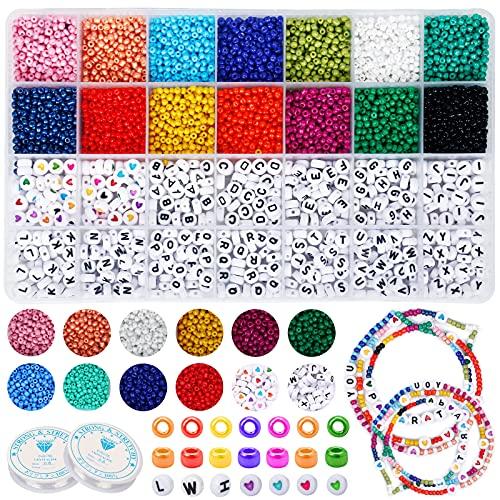 Cuentas de Colores 7700 Piezas Cuentas de Cristal Abalorios para Hacer Pulseras...