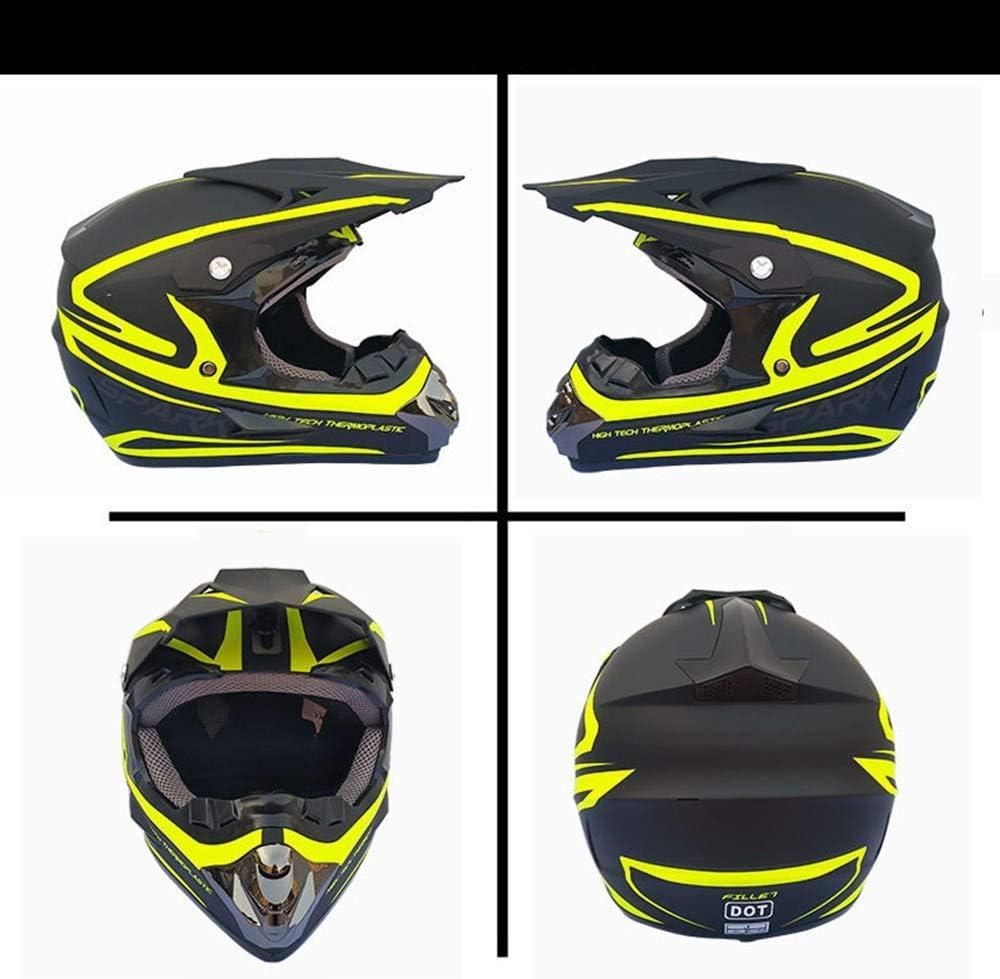 S L XL,Verde,M ZYW Regalos de la Cara Llena de Bicicletas de monta/ña Casco Adulto Gafas M/áscara Guantes Race MTB ATV motocr/ós de la Bici Casco de la Motocicleta D.O.T M