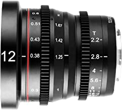 Meike 12mm T2.2 Large Aperture Manual Focus Cinema Lens Wide Angle Low Distortion Mini Fixed Prime cine Lens for Micro Four Thirds M43 MFT Olympus Panasonic Lumix Cameras and BMPCC 4K Zcam E2