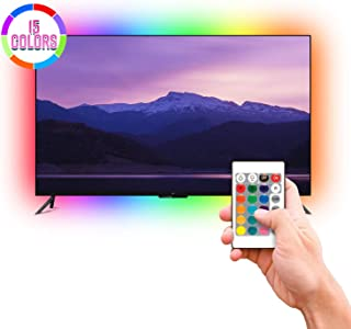 Led RGB Light Strips with Remote - Tv Led Backlight with 15 Multi Color Changing - 78 inches Long 2 Meters Tv USB Led Light Strip for Tv, Monitor in Bedroom or Office