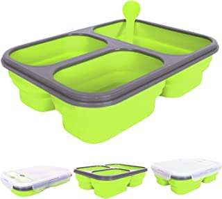 Portable lunch box Silicone Collapsible microwave Lunch Box bento lunch box-thermos folding lunch box set food container green