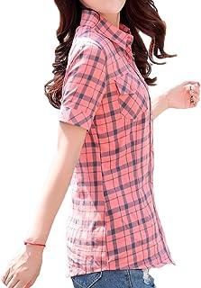 قمصان علوية نسائية من Yeirui بجيوب بأزرار للأسفل بأكمام قصيرة منقوشة تناسب الجسم