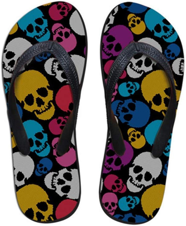MEIZOKEN Women Home Slippers Flip Flops Beach shoes Female Flip-Flops Cool Skull pink Printed House Slippers Flipflop