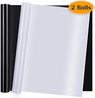 Heat Transfer Vinyl, Selizo 2 Rolls Black and White HTV Iron on Vinyl for T-Shirts, Hats, Clothing, Compatible with Cricut, Cameo, Heat Press Machines, Sublimation (12 Inch by 3.3 Feet Per Roll)