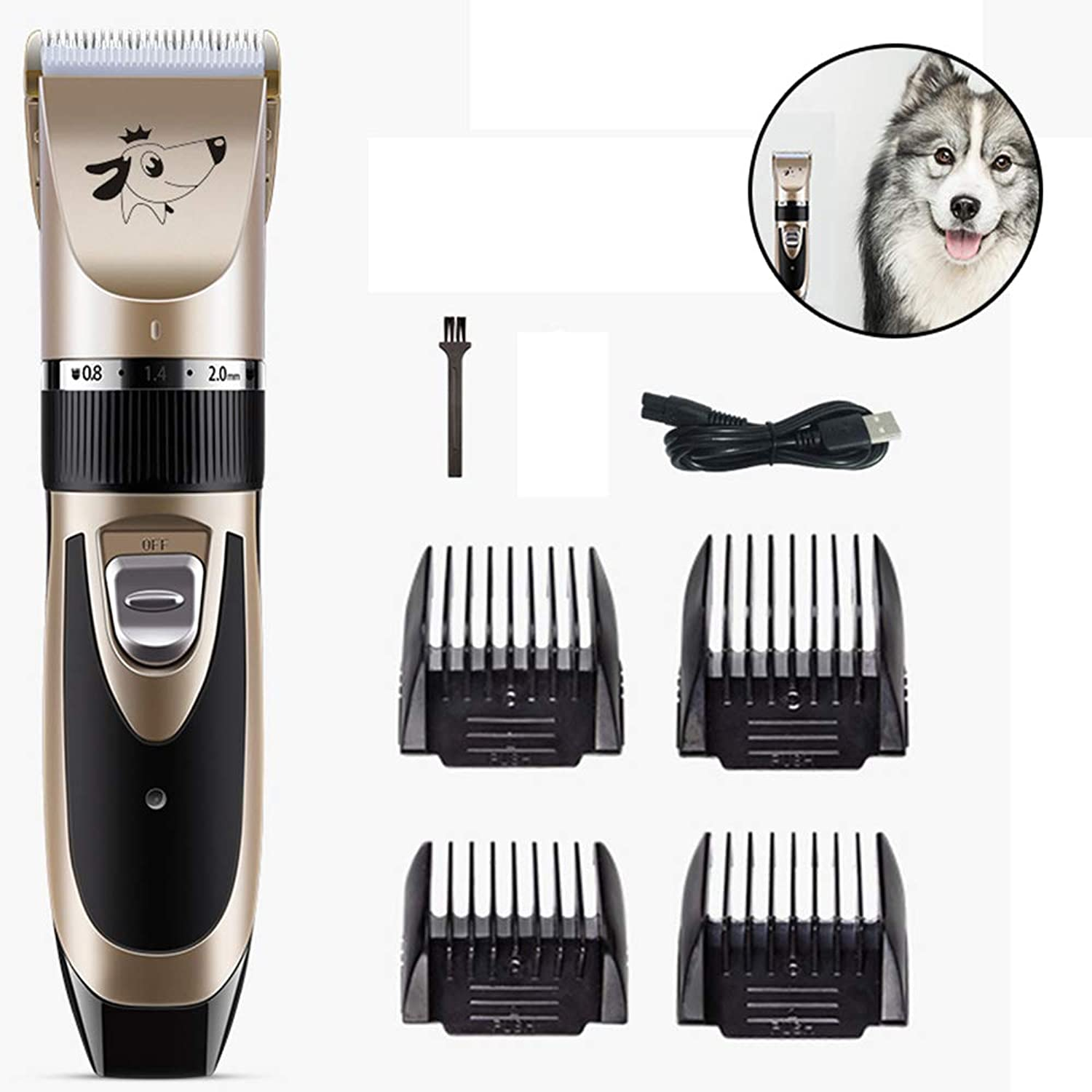 Dog Clippers Pet Grooming Clippers Cordless Dog Grooming Trimmers Low Noise Quiet,USB Charging,Plug and Play