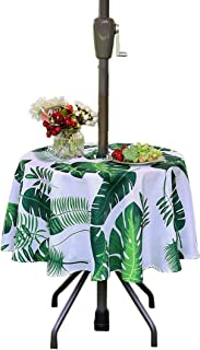 "Eternal Beauty 60"" Round Tablecloth Spillproof Polyester Printed Tablecloths with Zipper Umbrella Hole for Party Outdoor Table (Palm Leaf)"