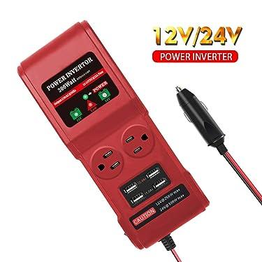 TANKPOW 300W Car Power Inverter 12V/24V DC to AC Inverter Converter 110V 2 AC Outlets 4 USB Ports with Switch and Cigarette Lighter Fits for Smartphones Laptops Tablets (Red)