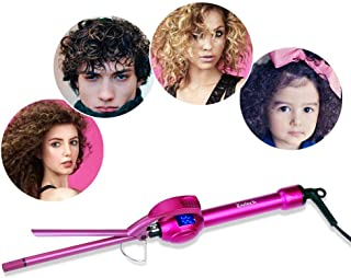 iGutech 9mm Mini Hair Curler Curling Tong Tourmaline Ceramic Barrel Curling Iron for Men Women (Rose Red)