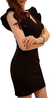 [ジルア] フリル Vネック セクシー ワンピース ミニ キャバ タイト ドレス ボディコン フレア ノースリーブ #063