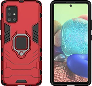 YEESOON Samsung Galaxy A71 5G Case, Dual Layer Hybrid Shockproof Protective Case with Ring Stand & Magnetic Car Mount Function Back Cover for Samsung Galaxy A71 5G - Red