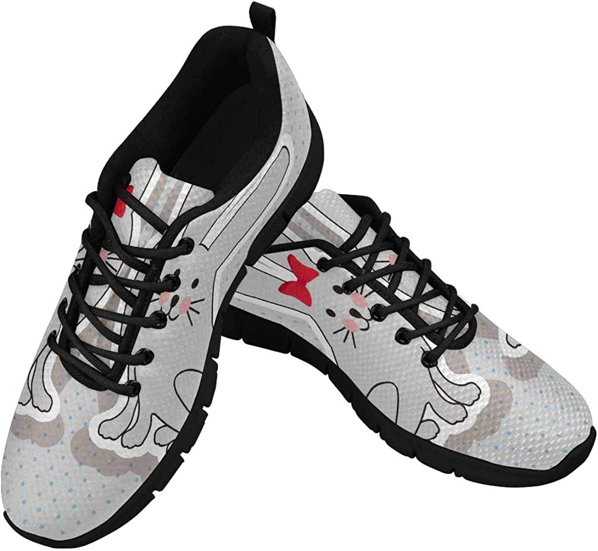 InterestPrint Rabbits Dotted Pattern Women's Lace Up Running Comfort Sports Sneakers