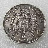 YunBest 1874 Francia Francesa Napoleón Moneda Conmemorativa - Moneda Vieja Sin Circular Francia Monedas Gran Francia-Descubre la Historia de Monedas BestShop