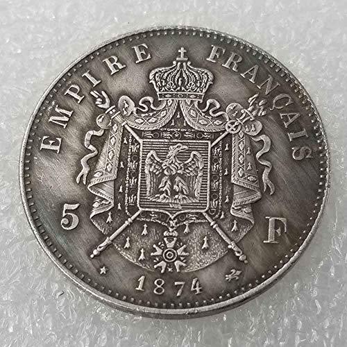 YunBest Best Monedas de Plata – 1874 Moneda Conmemorativa de Napoleón francés, colección de Monedas Antiguas, dólar de Plata Francesa, dólar Viejo Morgan – Plata chapada en BestShop