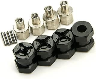 MOHERO RC Car 12mm Aluminum Alloy Wheel Hub Hex Drive Adaptor 15mm Offset for 1/10 RC Crawler Car SCX10 WRAITH (Black)