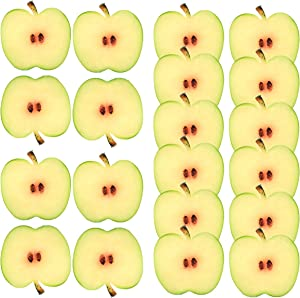 Meiwlong 20 PCS Artificial Realistic Apple Slices Fake Lifelike Plastic Realistic Fruit Ornament Home Decoration Festival Office Party Tabletop Wedding Photography Prop (Green)