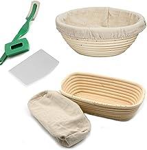 مجموعة سلة الخبز بانيتون - مصنوعة يدويا بقياس 22 سم دائريًا و25 سم بيضاويًا سلة لتخمير العجين مع مكشط للعجين وبطانة من الكتان