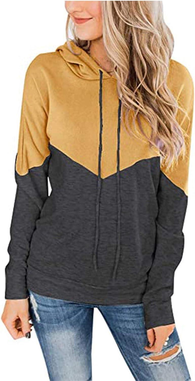 Eduavar Womens Hoodies,Women Teen Girls Fashion Color Block Long Sleeve Hooded Sweatshirts Casual Loose Pullover Blouses