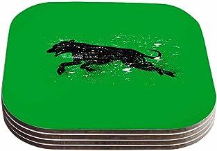 """قاعدة أكواب للحيوانات الأليفة مطبوع عليها رسمة """"كلب أسود من تصاميم بارماليسي آر تي بي (مجموعة من 4 قطع) مقاس 10.16 سم × 10..."""