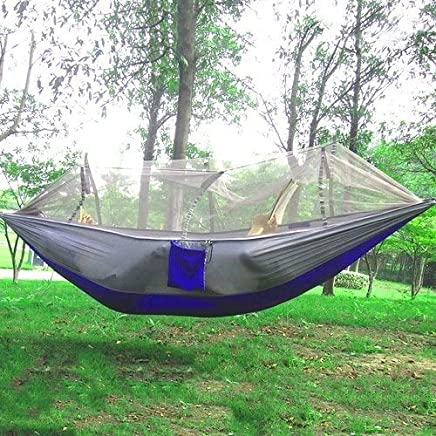 RubyShopUU 1-2 Person Portable Outdoor Hammock Camping Hanging Sleeping Bed with Mosquito Net Garden