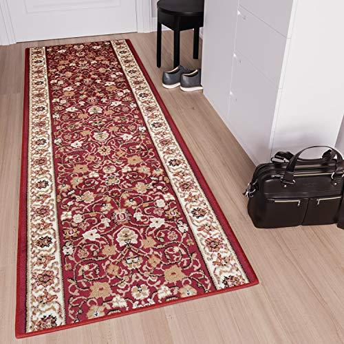 TAPISO Scarlet Tappeto Passatoia Corridoio Classico Salotto Entrata Casa Rosso Floreale Orientale Tradizionale A Pelo Corto 120 x 330 cm