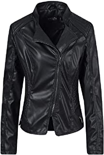 Howely Women Spring/Fall Lapel Steampunk Biker Leather Trench Coat