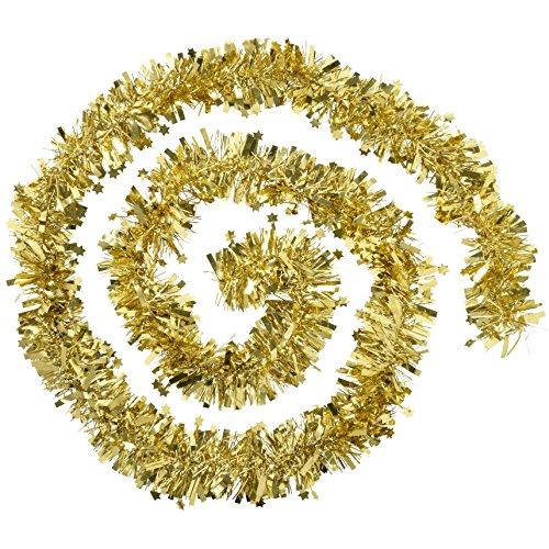 WeRChristmas 10m Girlande Traditionelle Weihnachtsbaum Lametta mit Sternen, Gold
