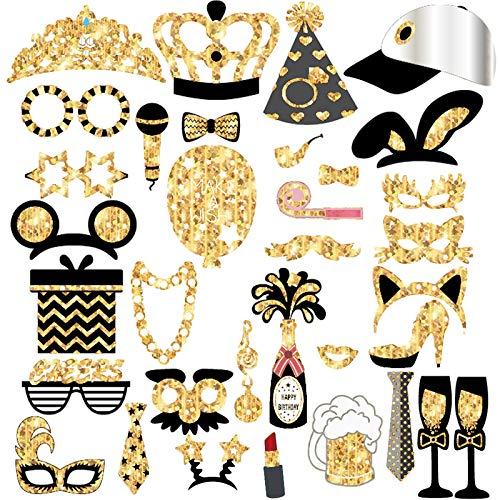 36 pcs Black Gold Party Photo Booth Props – Mix of Hats, Lips, Mustaches, Crowns and More – Perfect for Christmas…