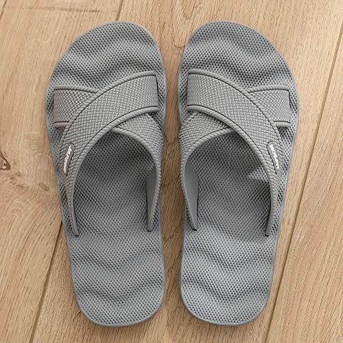Wenhua Herren Damen Dusch-& Badeschuhe,Anti-Rutsch-Bad-Duschsandalen, Indoor-Massage großformatiges Wort Mop-Grey 4_45,Sommer Slide Pantoletten Badelatschen