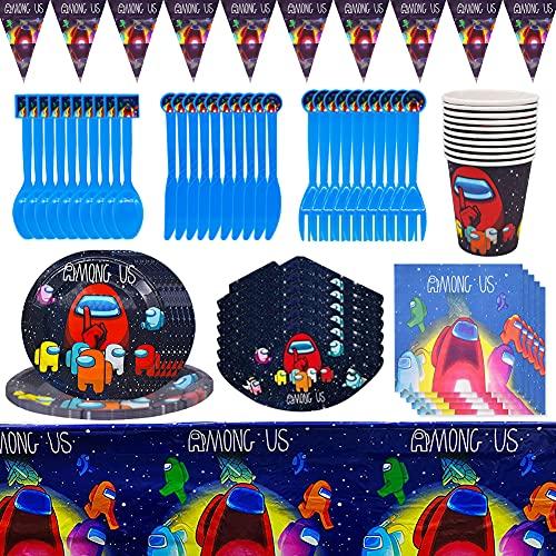 Accesorios de Decoración para Fiesta,CYSJ 82 PCS Juego de vajilla para fiestas,decoración de cumpleaños para niños,Among us fiestas de cumpleaños infantiles, platos,tazas,servilletas,manteles