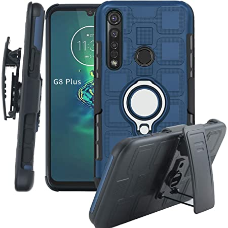 ZYZXBLFJ Motorola Moto G8 Plus Holster Belt Clip Case,[with 360° Kickstand] 3 in 1 Armor Rotating Ring Case [Dual Shockproof] Rugged Protection Cover Compatible with Moto G8 Plus-Navy
