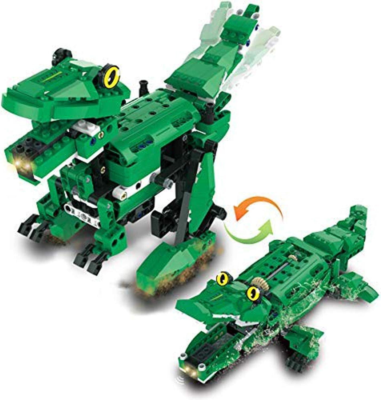 EEKUY Bausteine Dinosaurier Spielzeug, Lernspielzeug 2 in einem elektronischen Induktionsdinosaurier und Krokodil Eltern-Kind-Früherziehung Geschenke