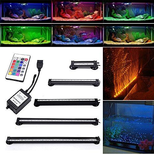 Neverland 46cm 27 LED 6W Aquarium Bubble Beleuchtung LED Lichtleiste Tageslichtsimulator Wasserfest Led Blase Licht Bar + 24 Tasten RC Fernbedienung Für Aquarium mit EU Stecker