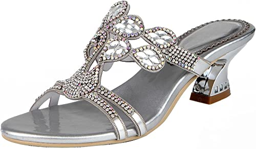 SAYYN Femmes Rome Cuir Strass Strass Strass Fleurs Bout Ouvert Pompe Robe Sandales argent Or , sliver , 43 584